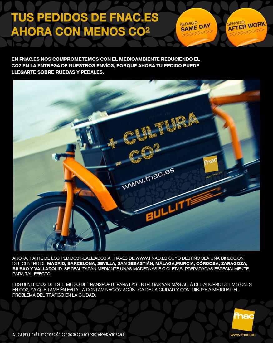 Entrega de pedidos Fnac en bicicleta