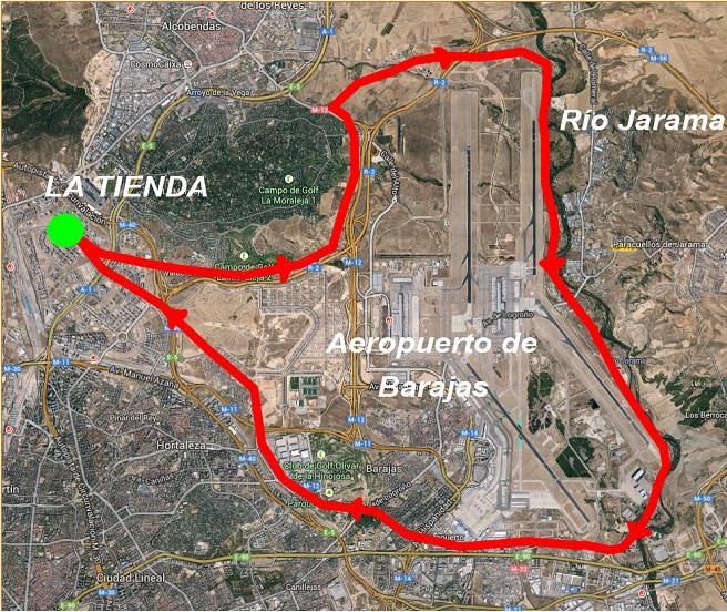 mapa ruta vuelta aeropuerto
